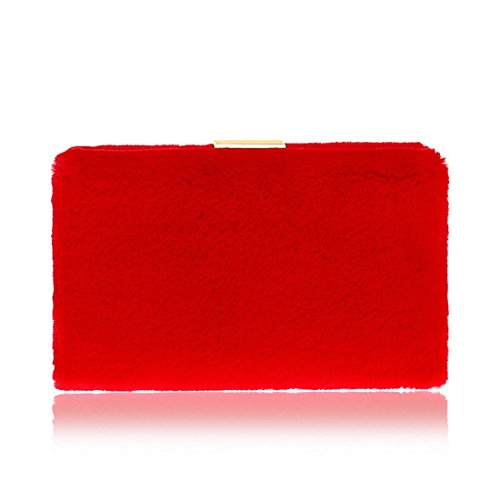 Red Fashion rosa a Crossbody pelliccia tracolla borsetta Ladies sera FUBULE borsa vqSgHH