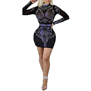 Women's Sexy Sequins Sheer Mesh See Through Bodycon Party Mini Dress Clubwear Black