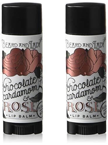 (Beard and Lady - Chocolate Cardamom Rose Salve Lip Balm Stick - Black Oval Tube Sticks - 2 Pack of 0.15 fl oz balms)