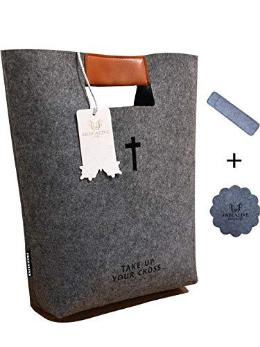 50% Discount+10% Coupon Bible Cover Case for Women Men, Christian Bible Tote Carved Cross Holy Bible Carrying Bag Church Bible Study Case Christian Gift for Week Deals (Dark Gray)]()