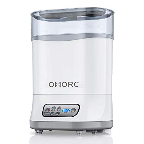 OMORC 550W Bottle Sterilizer and Dryer for Baby, 5-in-1 Multifunctional Electric Steam Sterilizer with Auto Power-Off, Digital LCD Display for Sterilizing, Drying, Warming Milk, Heating Food (White)