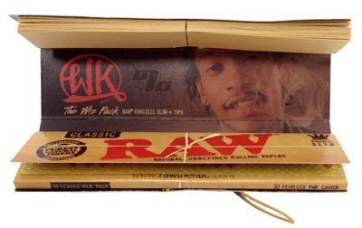 Wiz Khalifa Raw Connoisseur King Size Slim Rolling Papers With Tips 1 Pack (Khalifa Paper Tips Wiz)