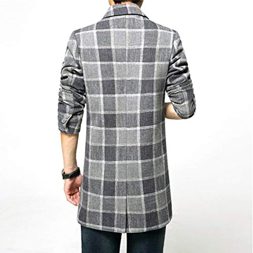 Smart Formal Grey Down Ntel Men's Long Sleeve Outdoor Men's Ntel Long Targogo Mens Trun Jacket Tweed Slim Plaid Lapel Fit Trench Jackets ASwUq1