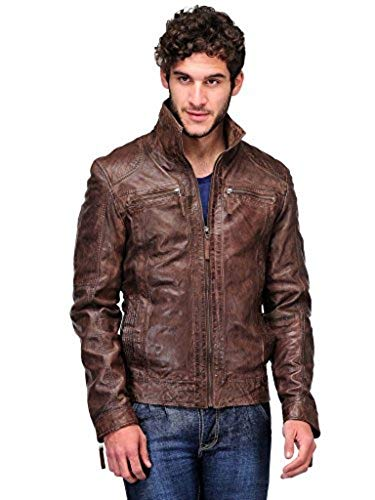 (Teakwood Leather Men's Real Genuine Lambskin Leather Jacket)