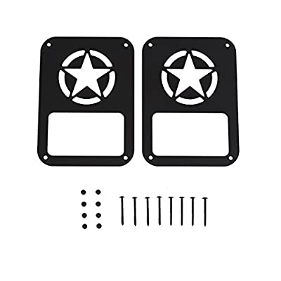 Hooke Road Jeep Wrangler Tail Light Guard, Five Star Taillight Cover for 2007-2020 Wrangler JK & Wrangler Unlimited - Pair: Automotive