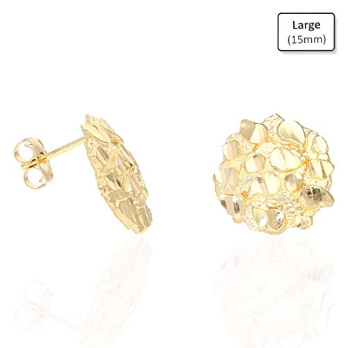 10K Solid Yellow Gold Round Nugget Pushback Stud Earrings, Large (Nugget Gold Yellow Ring)
