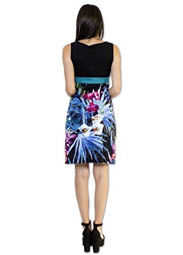 Coton Du Monde-ENORA vestido, color negro Multicolor