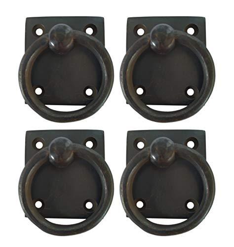 Square Back Ring Pulls Cabinet Chest Dresser Hardware by Nesha 4-Pack