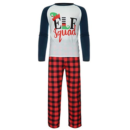 Dreamyth-Sleepwear Family Mom Daddy Cartoon Letter Print Patchwork Top Plaid Pants Sets Pajamas Suit (Dad Red, M) -