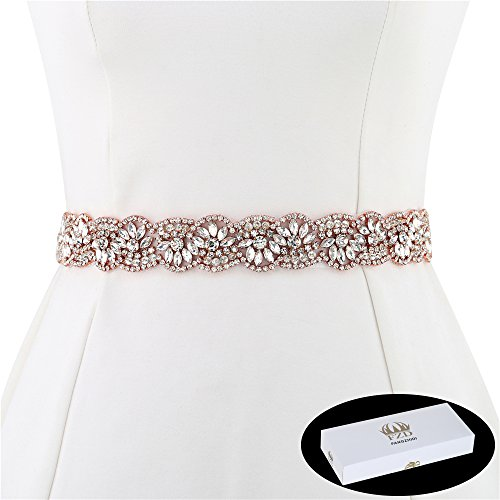 Rose Gold Bridal Sash Belt, FANGZHIDI 1 Yard Handmade Stunning Rhinestone Applique Trim for Wedding Accessories,Handcrafted Embellishment Decorative Diamond Beads Jewelry Long Wide Plus for Prom (Bridal Diamond Jewelry)