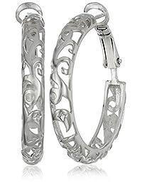 Sterling Silver Diamond-Cut Filigree Hoop Earrings