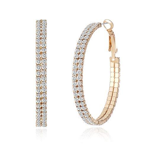 Miraculous Garden Gold Plated Crystal Rhinestone Hoop Earrings Set for Women Girls(40mm)