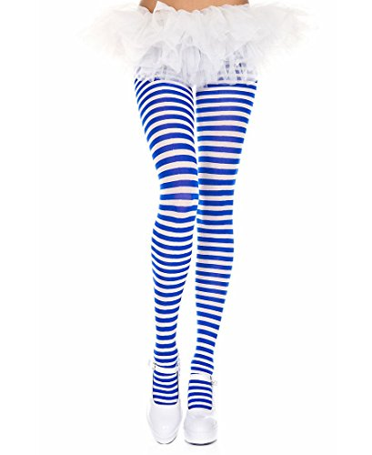 Blue And White Striped Leggings (Music Legs Striped tights)