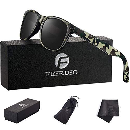 PolarizedSunglasses for Men and women - Feirdio Classic Retro Sun Glasses Pattern Frame Mens Sunglasses 2170(Black/Camouflage)