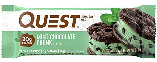 Quest Nutrition Mint Chocolate Chunk Protein Bar, High Protein, Low Carb, Gluten Free, Soy Free, Keto Friendly, 12 Count ()