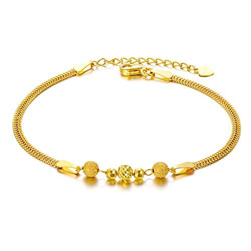 Pulsera de cuentas de oro amarillo macizo de 18 quilates para mujeres, finos regalos de joyería de aniversario para esposa, presente para ella, 6.5 -7.7