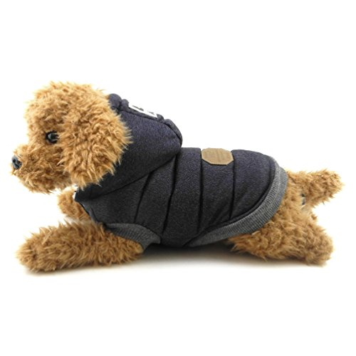 smalllee_lucky_store Dog Fleece Jacket with Hood Winter Cotton Coat Puppy Clothes, Small, Blue