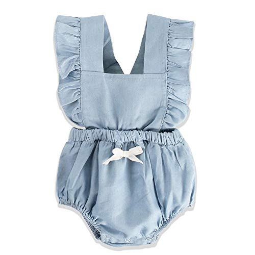 Unmega Baby Girl Twins Romper Lotus Sleeve Jumpsuit Ruffle Bowknot Bodysuit 1 Piece Matching Outfit (Blue, 90/18-24 Months)