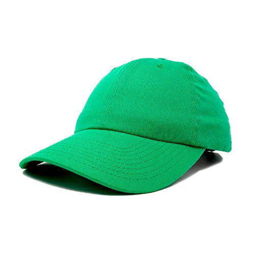 Dalix Unisex Unstructured Cotton Cap Adjustable Plain Hat, Green