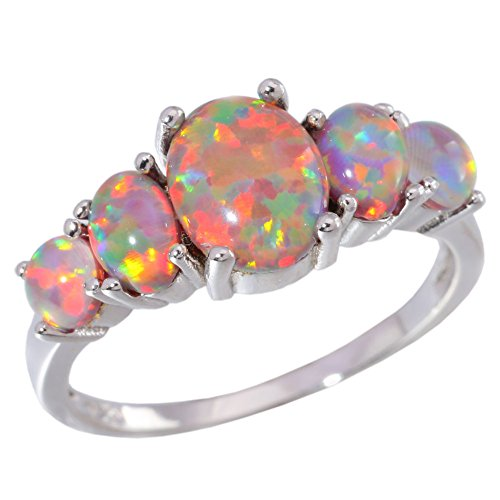 CiNily Created Orange Fire Opal Women Jewelry Gemstone Silver Ring Size 5-13 (Lab Created Gems)