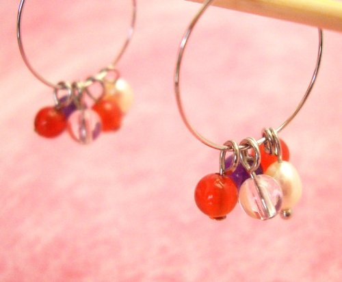 Carnelian & Amethyst & Freshwater Cultured Pearl & Clear Quartz . Non-hall Pierced Earrings Gemstones . Silver Plating Earrings