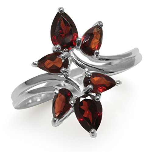 (2.16ct. Natural Garnet 925 Sterling Silver Bypass Leaf Ring Size 6.5)