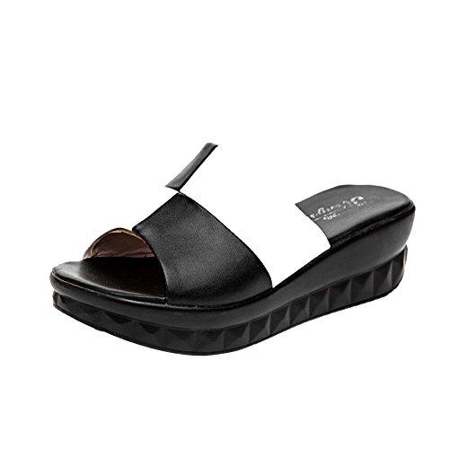 Black Une en mi et Pantoufles de Sandales la Fond Wedge Talon épais de à Forme Mère White à wHaWxqzg4