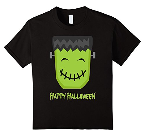 Kids Frankenstein Halloween T Shirt Happy cute smile monster tee 8 Black