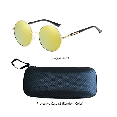 Mens Oversized Mirror Unisex Design de Fashionable gafas estuche Con for Sunglasses Gold Zhuhaitf Frames Womens amp;gold Polarized Round 0q6WW1p8
