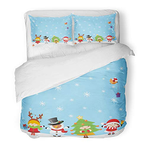 Emvency Decor Duvet Cover Set Twin Size Party Kids Christmas Costume People Winter 3 Piece Brushed Microfiber Fabric Print Bedding Set Cover -