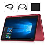 Dell Inspiron 11.6' LED Anti-Glare Touchscreen 2 in 1 2018 Newest Laptop Computer, AMD A9-9420e up to 2.7GHz, HDMI, WiFi, Bluetooth, Windows 10 with Bonus Combo (8GB|256GB SSD, Red)