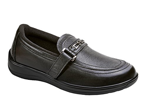 Orthofeet Chelsea Comfort Orthopedic Diabetic Orthotic Womens Loafers Slip on Shoes Chelsea Womens Extra Depth Therapeutic Arthritis and Diabetic Shoes Black Leather 8.5 M US by Orthofeet