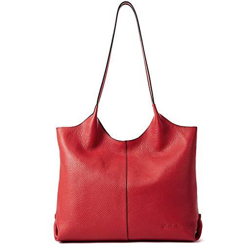 Designer Handbags Net - BOSTANTEN Women Designer Shoulder Handbag Soft Genuine Leather Tote Top-handle Purses Red