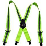 Fashional Work Men Suspenders with Wide Adjustable Heavy Duty Clips,X-Back Style