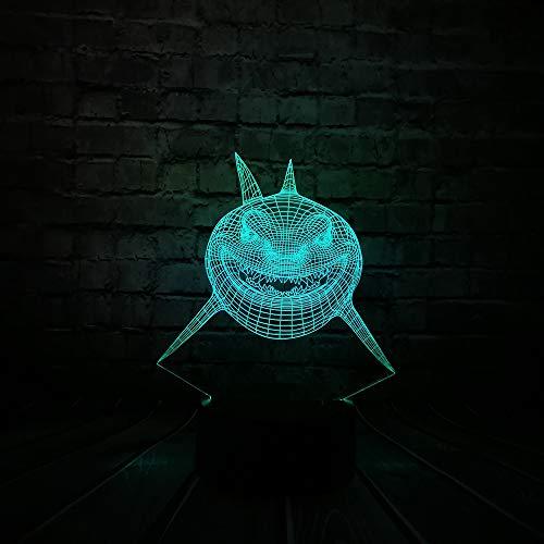 Christmas Gift Shark Shape 3D Usb Led Night Light Underwater Sea World Animals 7 Color Table Lamps Night Lighting…