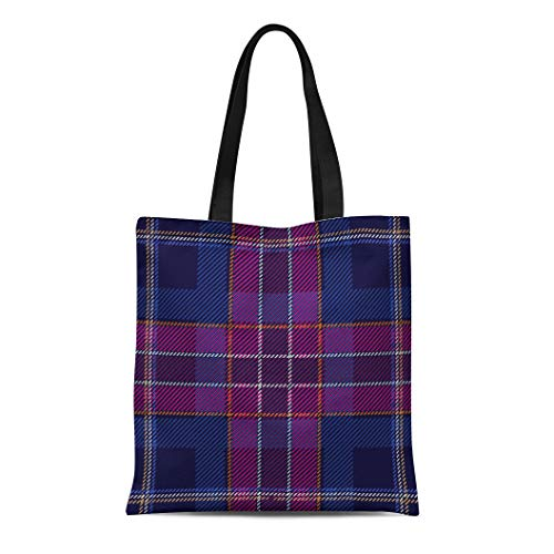 Dress Checker Cotton - Semtomn Cotton Canvas Tote Bag Dark Checkered Pattern Checkers and Stripes Hipster Collection Reusable Shoulder Grocery Shopping Bags Handbag Printed