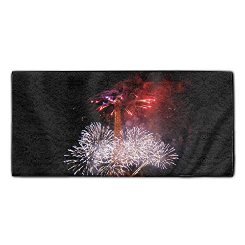 Bastille Day Eiffel Tower Fireworks Printed Guest Hand Towels Fingertip Towels Super Absorbent Washcloth 11.8 X 27.5