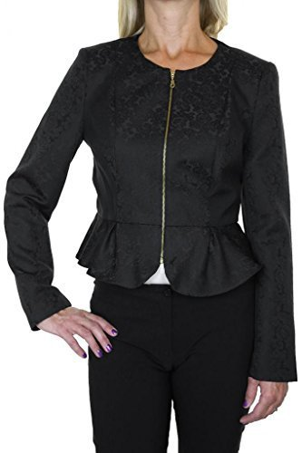(5102) Mandarin Neck Peplum Waist Zip Front Smart Jacket Black Brocade (6) (Brocade Zip Jacket)