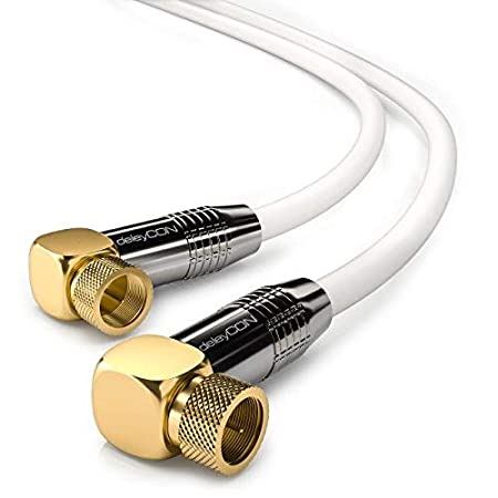 Blanco 90/° Grado deleyCON 5m Cable de Antena Sat HDTV Cable de Sat/élite Cable Coaxial 2X en /Ángulo Conector F - Conector Met/álico 90/° Grado a Conector F