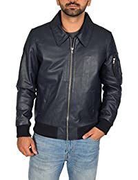 "<span class=""a-offscreen"">[Sponsored]</span>Mens Real Leather Fitted Bomber Flight Harrington Classic Jacket Cash Navy Blue"