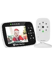 Video Baby Monitor Babyphone mit Kamera babyfon Gegensprechfunktion KIWITECH Digital kabellose Überwachungskamera (Schlafmodus, Nachtsicht, Temperatursensor, Schlaflieder), 2.0 Zoll LCD Display