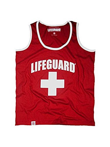 LIFEGUARD Officially Licensed Guys Muscle Tank with Contrast Piping Edge 100% Cotton for Men (XL, (Lifeguard Tank)