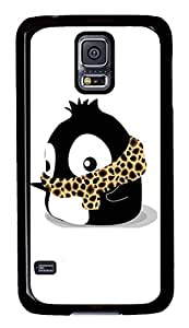 Brian114 Samsung Galaxy S5 Case, S5 Case - Stylish Black Hard Cover for Samsung Galaxy S5 I9600 Fat Baby Penguin With Leopard Scarf Slim Fit Protector for Samsung Galaxy S5