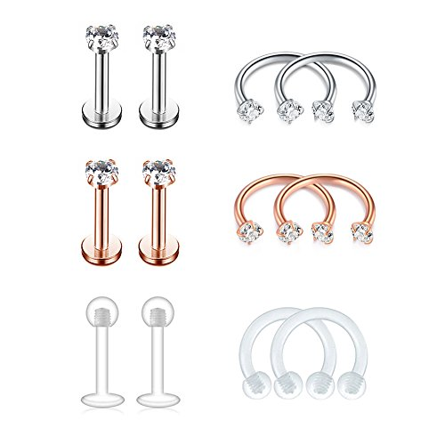 - FECTAS 16G Cartilage Earring Stud Forward Helix Earrings Internal Threaded Labret Lip Medusa Monroe Piercing Ring 6 Pairs