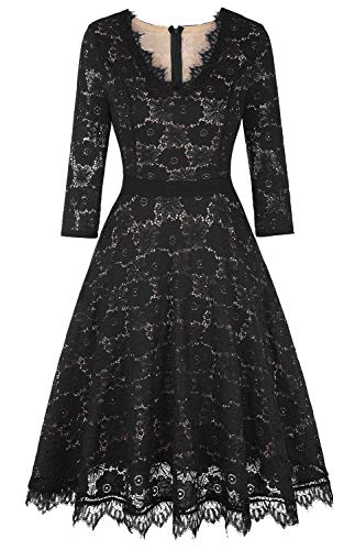 Twinklady Women's Vintage Full Lace Bell Sleeve Big Swing A-Line Dress (Black1, XL)