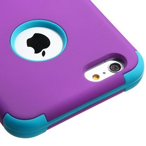 Iphone 6 plus case, Luckyphone (TM) Slim Fit IPhone 6 Plus (5.5 inch) Hybrid Triple Layer Tuff Verge Merge Shield Heavy Duty Hard Cover Fitted Skin Case Protector + Clear LCD Screen Protector Shield Guard + Touch Screen Stylus Pen (Purple/Teal TUFF)