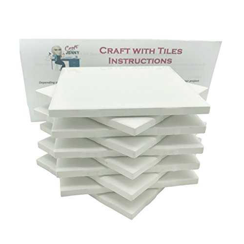 Coaster Tile Craft Kit, Set of 10 Ceramic White Tiles 4x4, with Detailed Instructions plus Tips and Tricks, DIY Make Your Own Coasters, Mosaics, Painting Projects, - Trends Craft Magazine