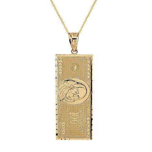Solid 14k Yellow Gold Hundred $100 Dollar Bill Pendant Necklace (Small), 18'' by Hip Hop Jewelry