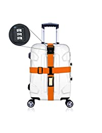 Luggage Straps With Lock ,Cross Suitcase Travel Belts with Lock (Orange Color)