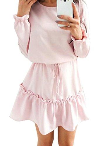 Cruiize Lungo Sciolto Rosa Manica Volant Vita Womens Girocollo Alta Vestito Chiarore r5qwSr